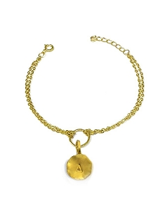 Initial Circle Charm Double Chain Bracelet
