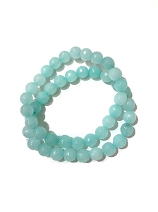 Set of 2 / 10-12MM Aqua Gemstone Stretch Bracelet