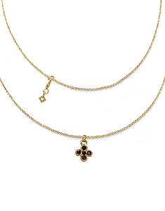 Black Clover Pendant with Square CZ Charm Double Layer Necklace