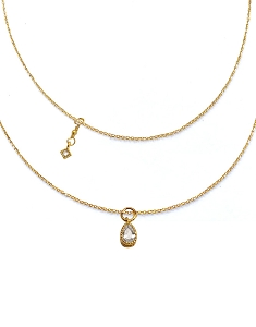 Teardrop Pendant with Square CZ Charm Double Layer Necklace