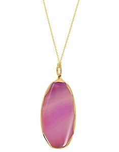 Fuchsia Elongated Oval Agate Pendant