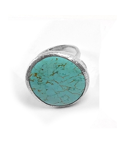 Sterling Silver Round Turquoise Ring