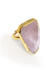 Rose Quartz Gemstone Gold Ring