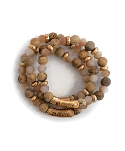 Blessed Stamped Natural Brown Gemstone Bead Bracelet