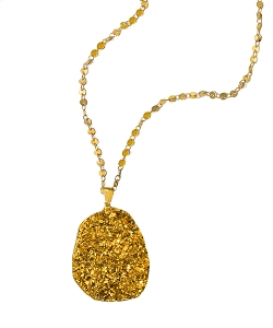 Large Titanium Gold Druzy Pendant with Circle Disc Chain