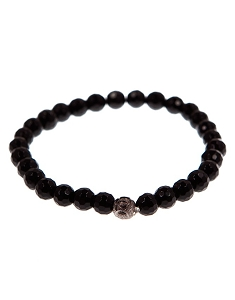 8MM Natural Gemstone Black Beaded Stretch Bracelet