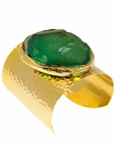 Agate Quartz- Emerald Green Gold Cuff