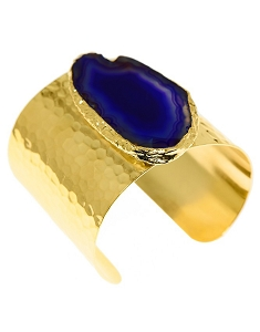 Slice Agate- Blue Gold Cuff