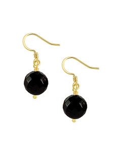 Single Onyx Bead Gold Earrings