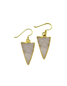 Druzy Triangle White Gold Earrings