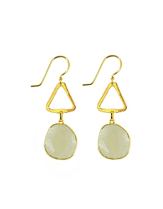 Triangle and Moon Stone Drop Gold Earrings