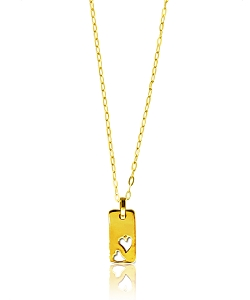 Rectangle Tag with Double Heart Cut Out Pendant