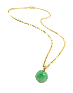 Green Agate Ball Gold Pendant