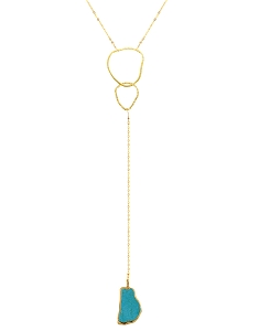 Irregular Circle Y Necklace with Blue Turquoise Pendant