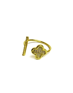 CZ Bar and Clover Ring
