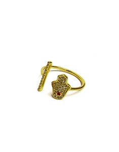 CZ Bar and Hamsa Hand Ring