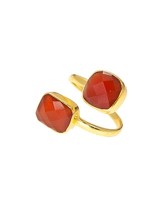 Double Gemstone Carnelian Statement Ring
