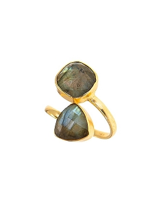 Double Gemstone Labradorite Statement Ring