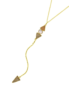 3-Druzy Gemstones Y Necklace with Triangle Druzy Pendant