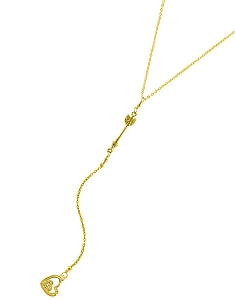 Arrow Y Necklace with Hearts Pendant