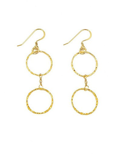 14K Gold Vermeil Two Circles Dangle Earrings