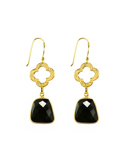 Clover and Onyx Drop Gold Earrings
