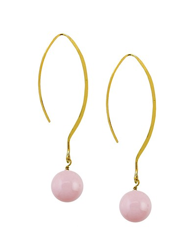 Long French Hook with Rose Quartz Bead Gold Earring