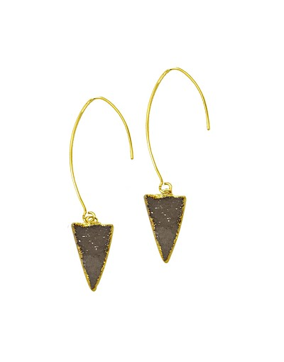 Long French Hook with Triangle Grey Druzy Gold Earrings