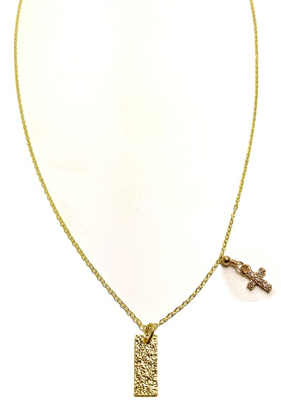 Bar Pendant with Cross Accent Necklace