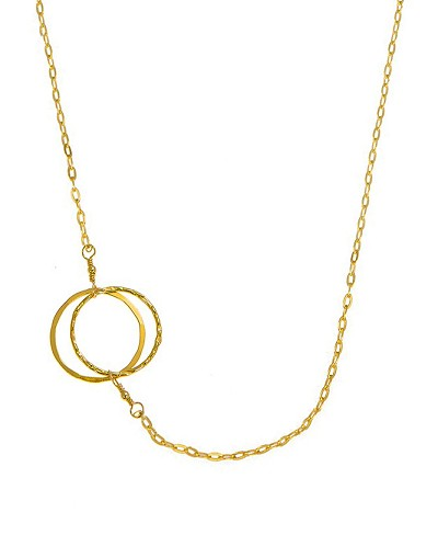 Sideway Double Circles Pendant Short Necklace