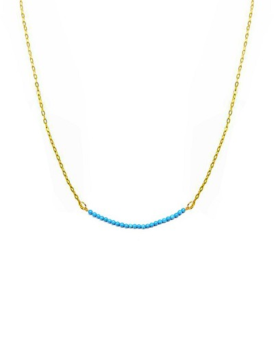 Mini Turquoise Bead Bar Choker Necklace
