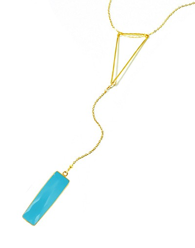 Triangle Y Necklace with Triangle Turquoise Pendant