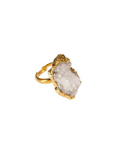 Druzy White Gold Ring
