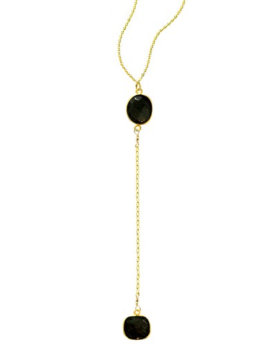 Y 2-Onyx Gemstones Necklace