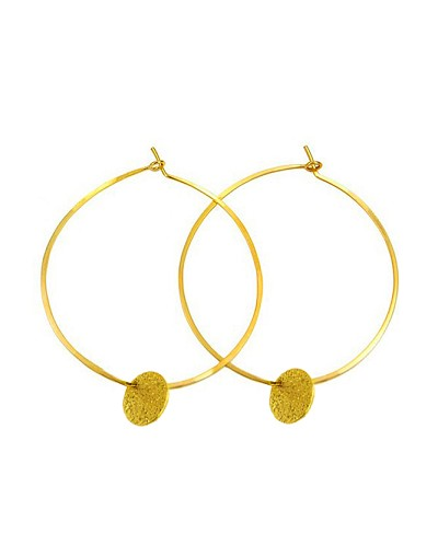 "2"" Hoop Earrings No Backing with a Circle Disc"