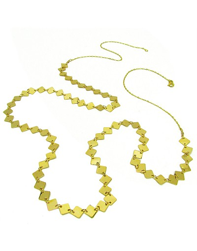 Mini-Square-Disc Long Necklace