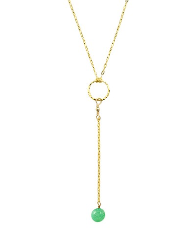 "1/2"" Circle Y Necklace with Gemstone Ball Pendant"